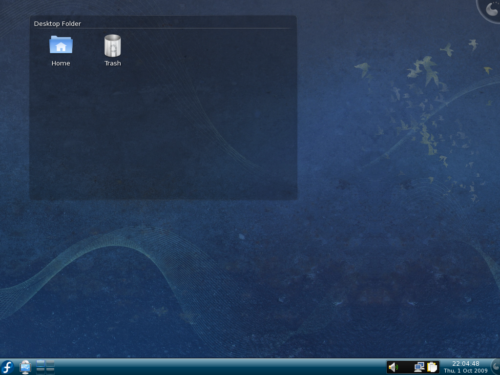 Figure 6: The Fedora 11 dsktop uses KDE 4.2 which is considerably different from the KDE 3.5 desktop.