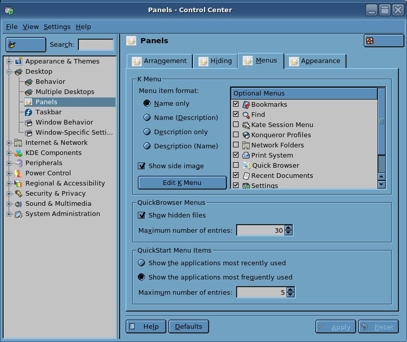 Control Center Panels Menu