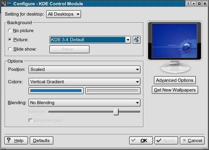 KDE Background Control Module
