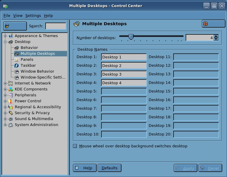 Control Center Multiple Desktops