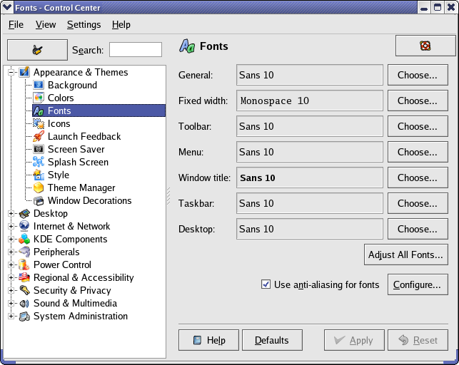 KDE Font Control Module