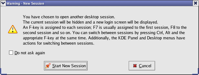KDE Start New Session Warning