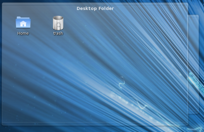 Desktop folder with Home and Trash icons