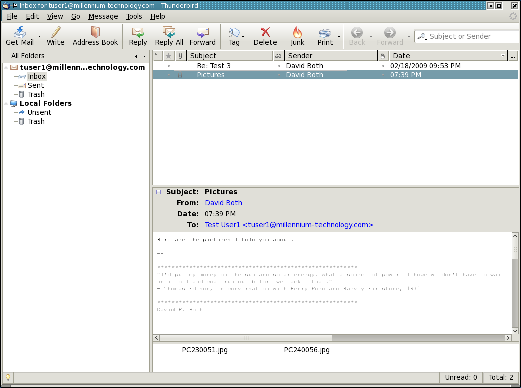 Email messages with attachments show a paper clip icon to the left of the subject.