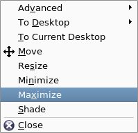 Use the Task Bar Menu to minimize, maximize, and restore an application window, as well as select one or all desktops on which it should appear.