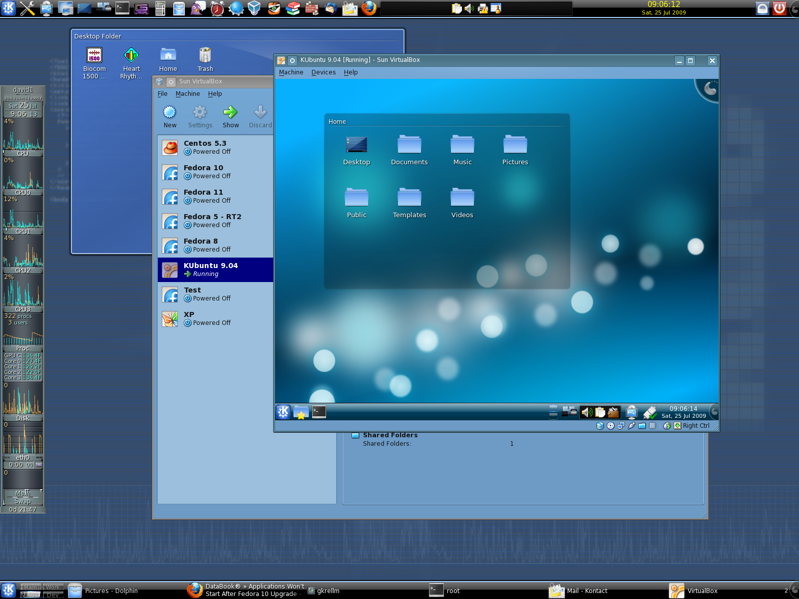 Here is my Fedora 11 desktop with Kubuntu running in a virtual Machine under VirtualBox. Notice the large number of launchers in the KDE Panel along the top of the screen. I have also placed a second Panel at the bottom of the screen for a wide Task Bar that lets me see and switch between large numbers of running applications.
