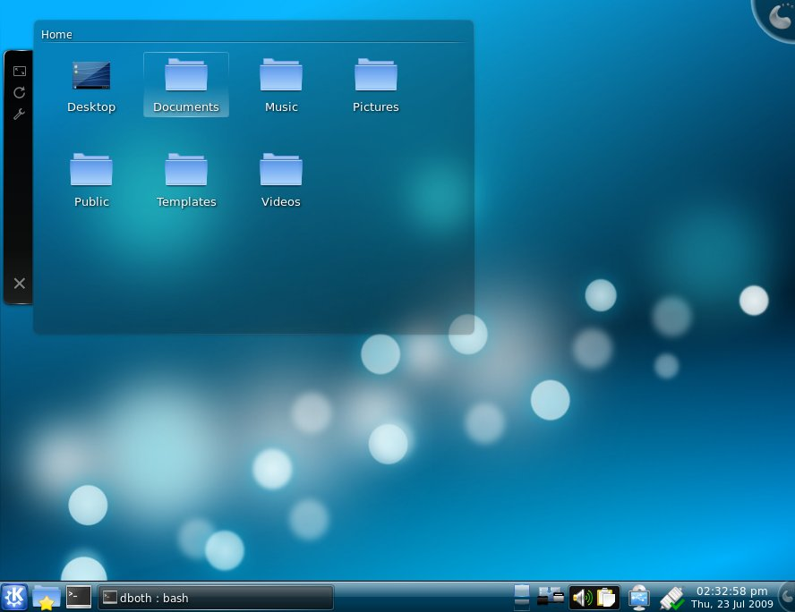 The KDE 4.2.4 desktop as it appears in Kubuntu.