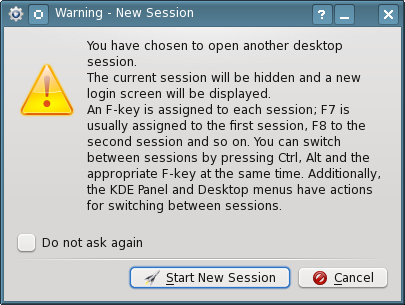 Figure 4: The New Session warning message tells you how to switch between active sessions.