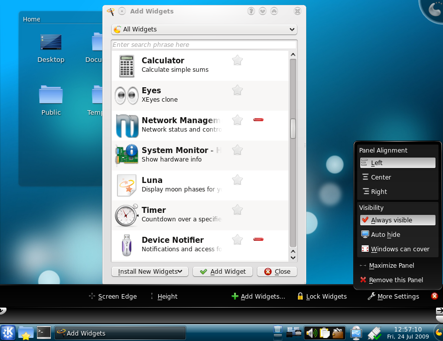 "KDE 4.2.4 desktop with KDE Panel configuration and ""Add Widget"" window."