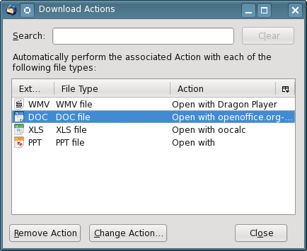 You can modify or delete existing actions in this menu, but you cannot add new ones.