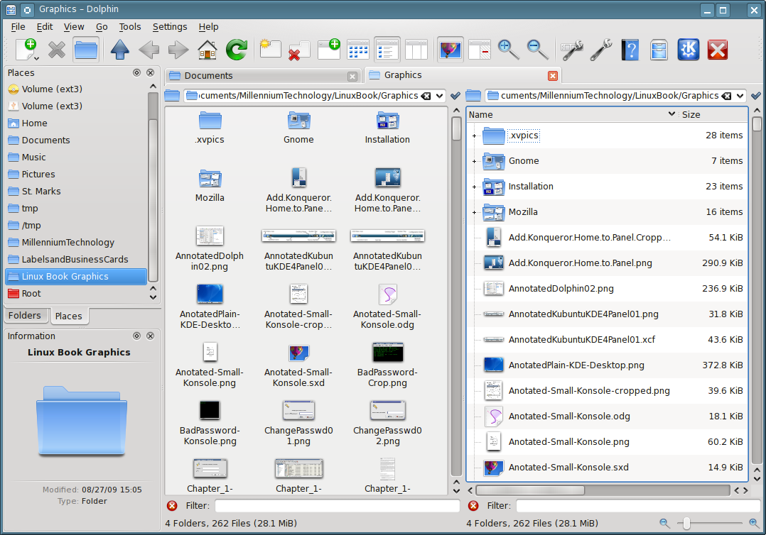 Figure 3: The left Workspace is using the Icon view while the right Workspace is the list view of the same directory.