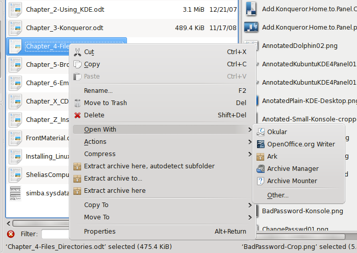 Figure 19: Selecting a different application than the default one with which to open a file.