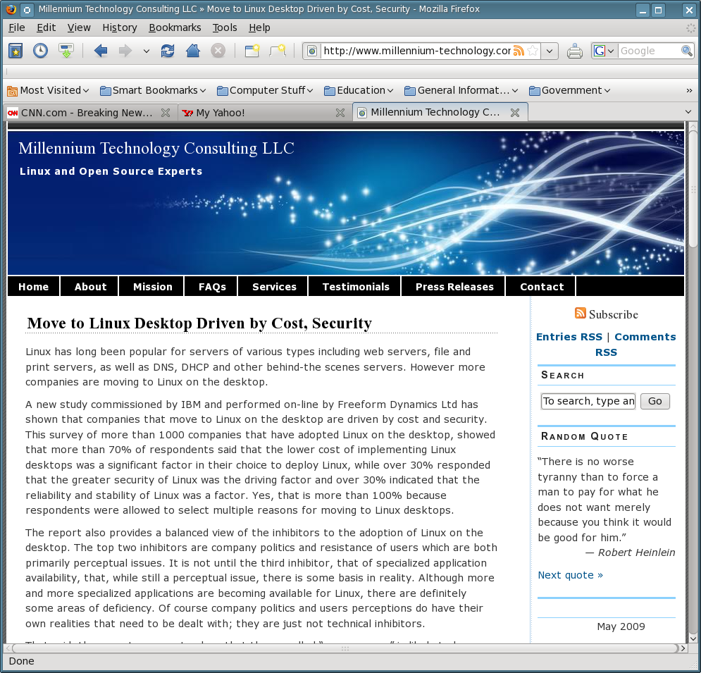 Figure 1: Tabbed Browsing in Firefox allows you to have multiple web sites open simultaneously in a single window.