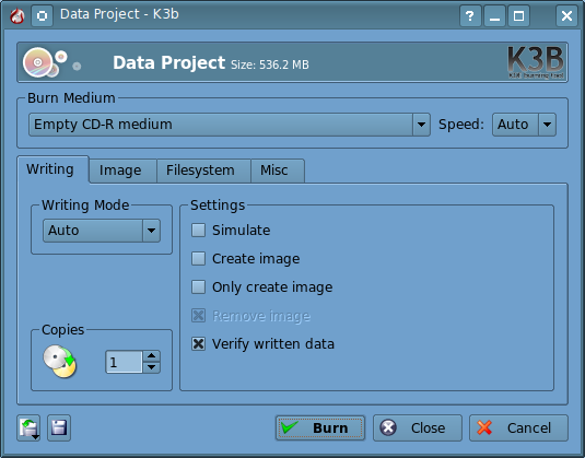 Figure 4: The K3B Burn Dialog window.