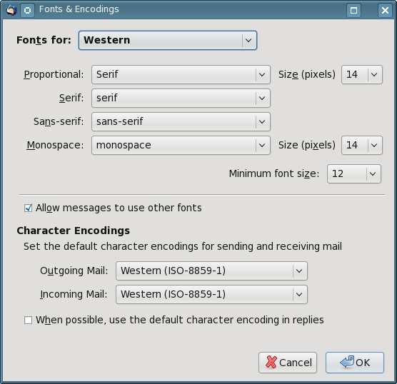 Figure 2: The Thunderbird Fonts & Encoding menu allows you to set the font sizes for proportional and monospace fonts as well as the minimum font size for the message text.