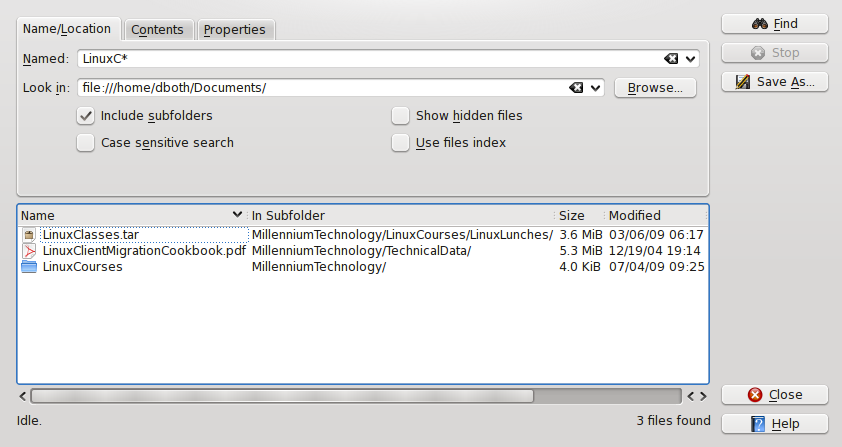 Figure 21: The Dolphin search tool allows you to find files and folders by name.