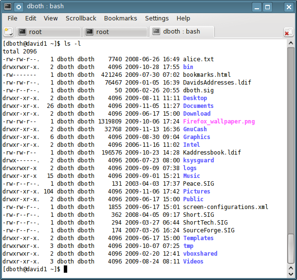 Figure 1: This file listing shows files and directories with their permissions and ownership.