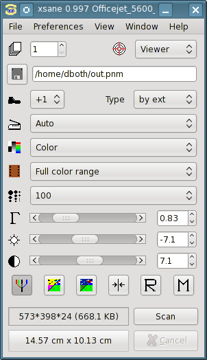 Figure 1: The main window of XSane allows you to select the scan resolution, color vs greyscale, and other options. You also initiate the scan from here.