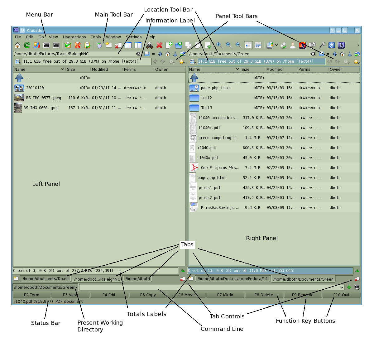 The Krusader User Interface is complex and has many functions.