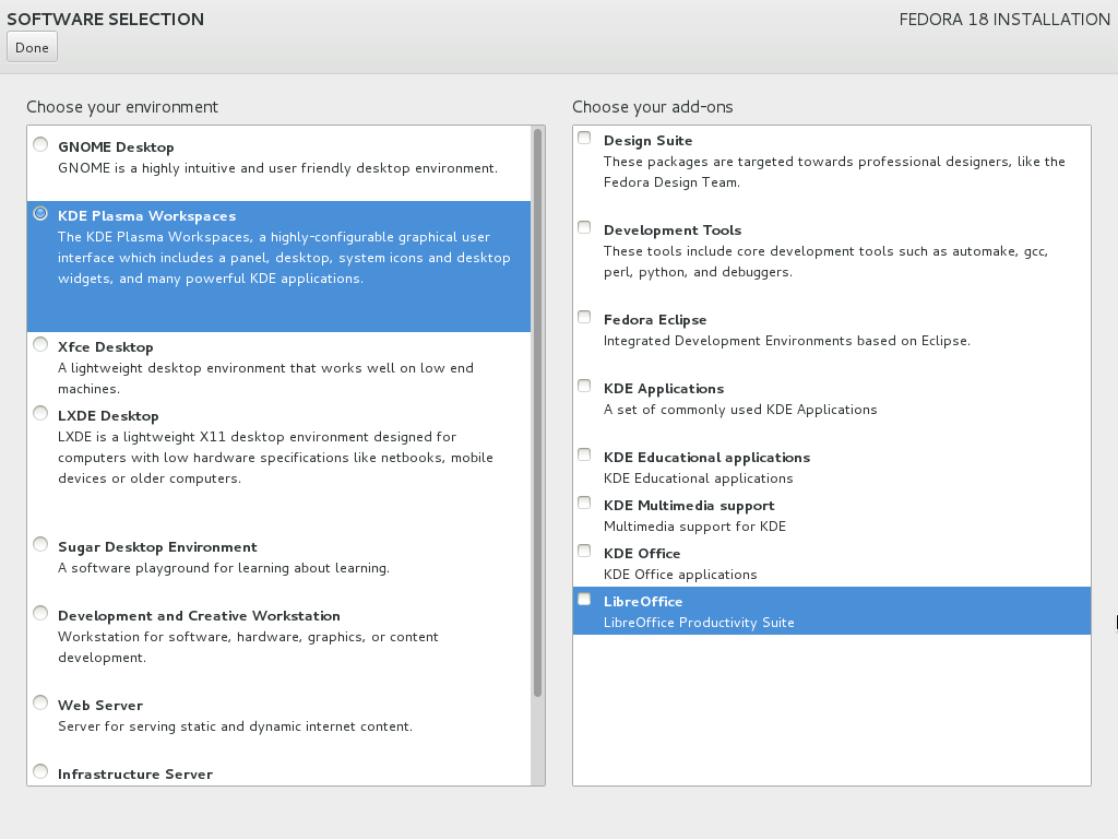 Select the KDE Desktop from the Software Selection sub-menu.