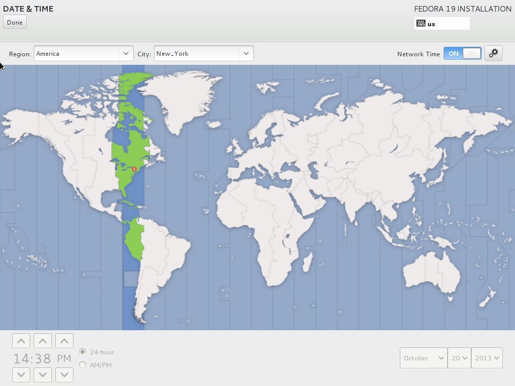 Select the desired time zone from the map if it is different from the one selected by default.