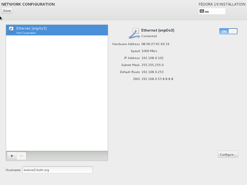 Check the DHCP network configuration or manually configure it.