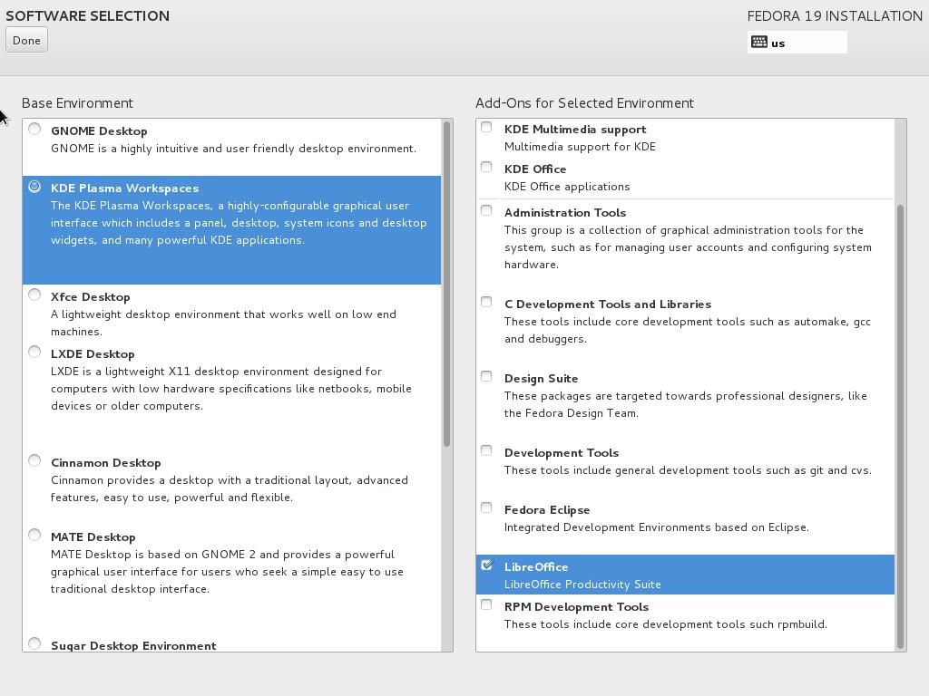 Fedora19SoftwareSelectionInstallationMenu1